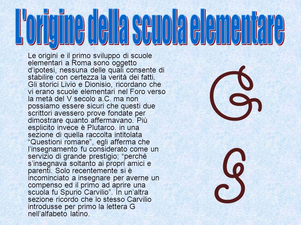 Le origini e il primo sviluppo di scuole elementari a Roma sono oggetto dipotesi, nessuna delle quali consente di stabilire con certezza la verità dei