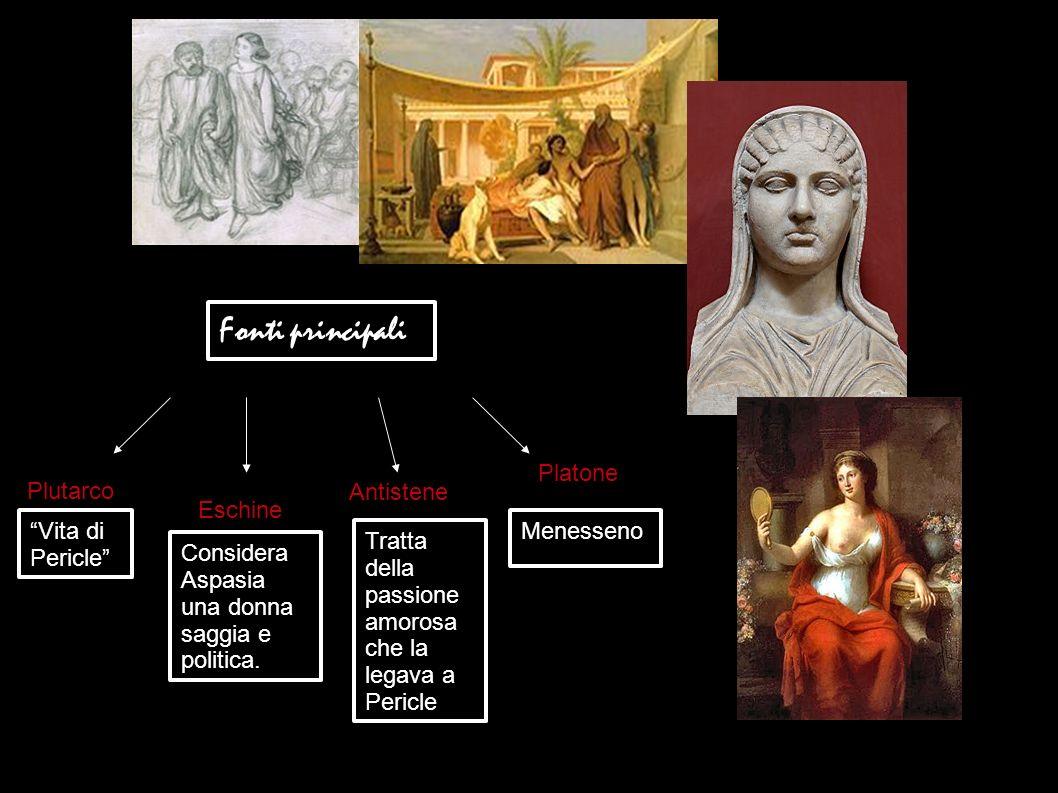 Fonti principali Plutarco Eschine Antistene Considera Aspasia una donna saggia e politica. Tratta della passione amorosa che la legava a Pericle Plato