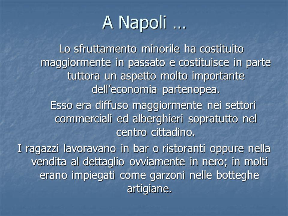A Napoli … Lo sfruttamento minorile ha costituito maggiormente in passato e costituisce in parte tuttora un aspetto molto importante delleconomia part