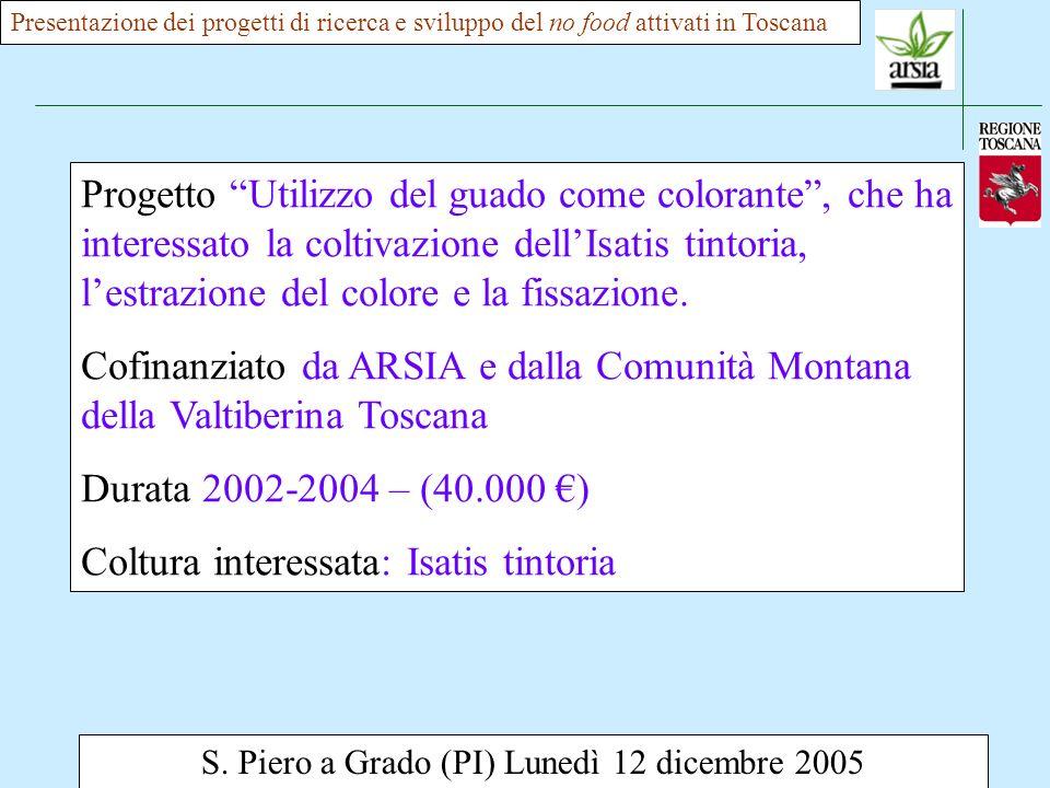 S. Piero a Grado (PI) Lunedì 12 dicembre 2005 Presentazione dei progetti di ricerca e sviluppo del no food attivati in Toscana Progetto Utilizzo del g