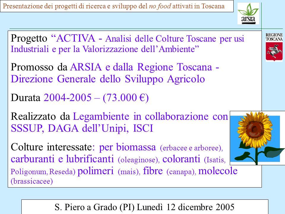 S. Piero a Grado (PI) Lunedì 12 dicembre 2005 Presentazione dei progetti di ricerca e sviluppo del no food attivati in Toscana Progetto ACTIVA - Anali
