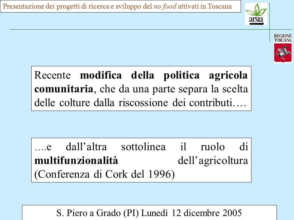 S. Piero a Grado (PI) Lunedì 12 dicembre 2005 Recente modifica della politica agricola comunitaria, che da una parte separa la scelta delle colture da