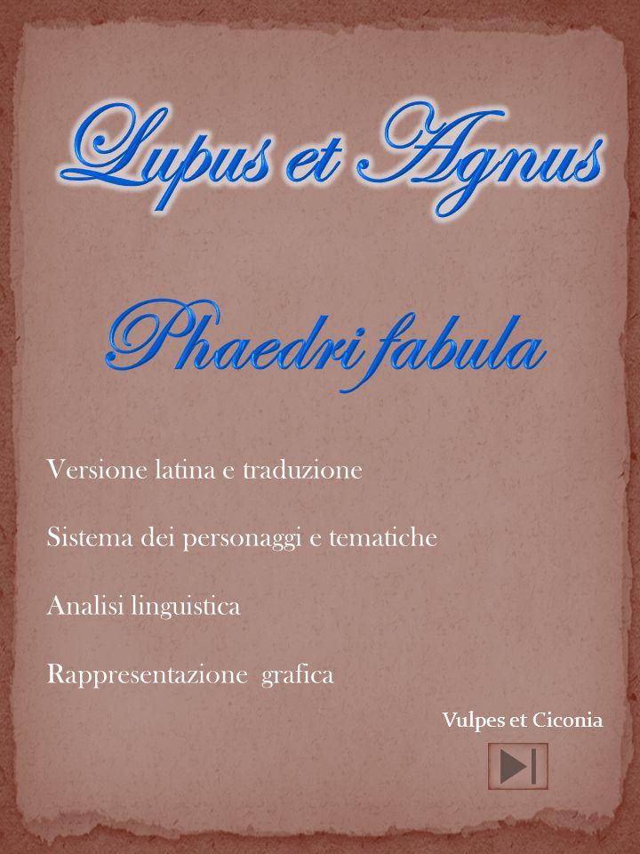 Versione latina e traduzione Sistema dei personaggi e tematiche Analisi linguistica Rappresentazione grafica Vulpes et Ciconia