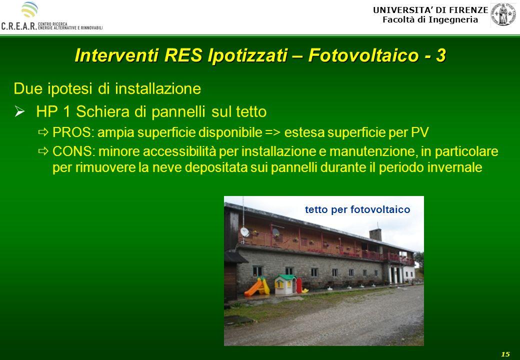 UNIVERSITA DI FIRENZE Facoltà di Ingegneria 15 Interventi RES Ipotizzati – Fotovoltaico - 3 Due ipotesi di installazione HP 1 Schiera di pannelli sul