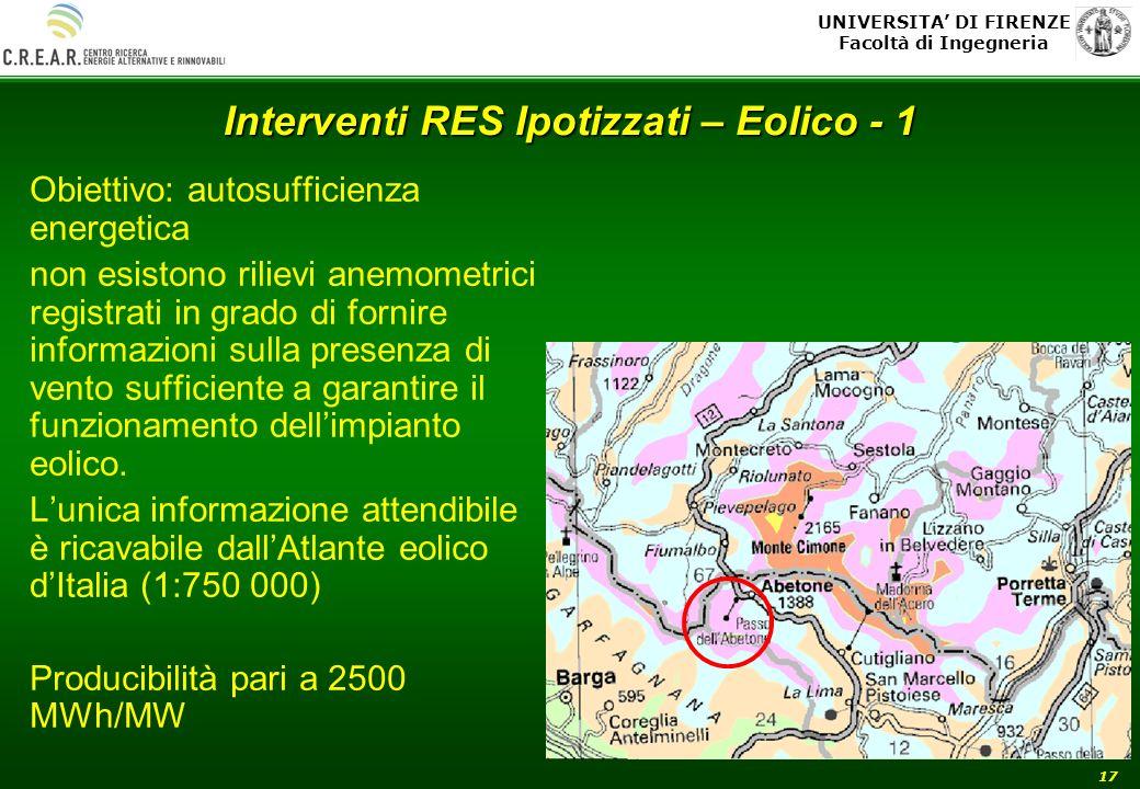 UNIVERSITA DI FIRENZE Facoltà di Ingegneria 17 Interventi RES Ipotizzati – Eolico - 1 Obiettivo: autosufficienza energetica non esistono rilievi anemo