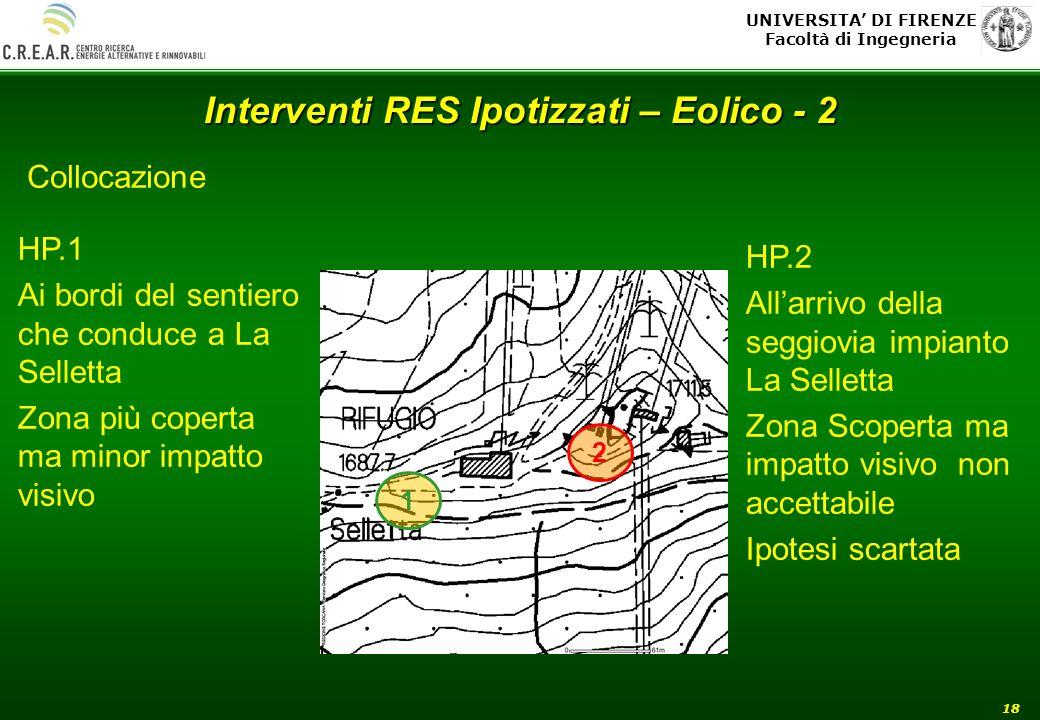 UNIVERSITA DI FIRENZE Facoltà di Ingegneria 18 Interventi RES Ipotizzati – Eolico - 2 Collocazione HP.1 Ai bordi del sentiero che conduce a La Sellett