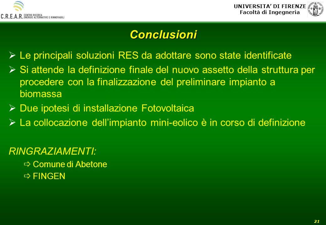 UNIVERSITA DI FIRENZE Facoltà di Ingegneria 21 Conclusioni Le principali soluzioni RES da adottare sono state identificate Si attende la definizione f