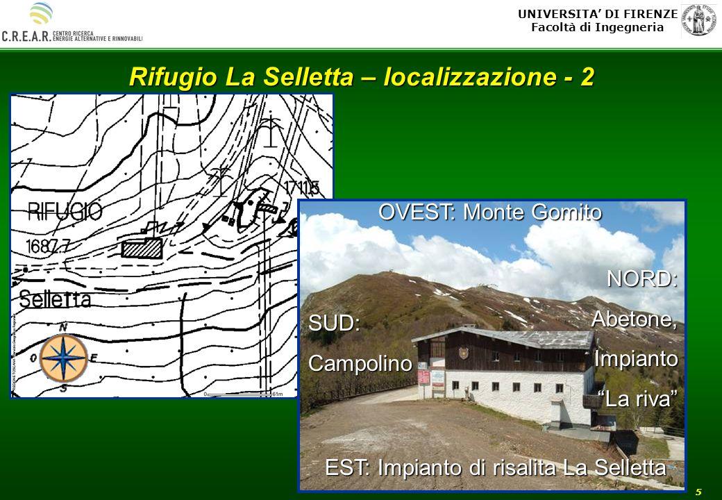 UNIVERSITA DI FIRENZE Facoltà di Ingegneria 5 Rifugio La Selletta – localizzazione - 2 OVEST: Monte Gomito EST: Impianto di risalita La Selletta NORD: