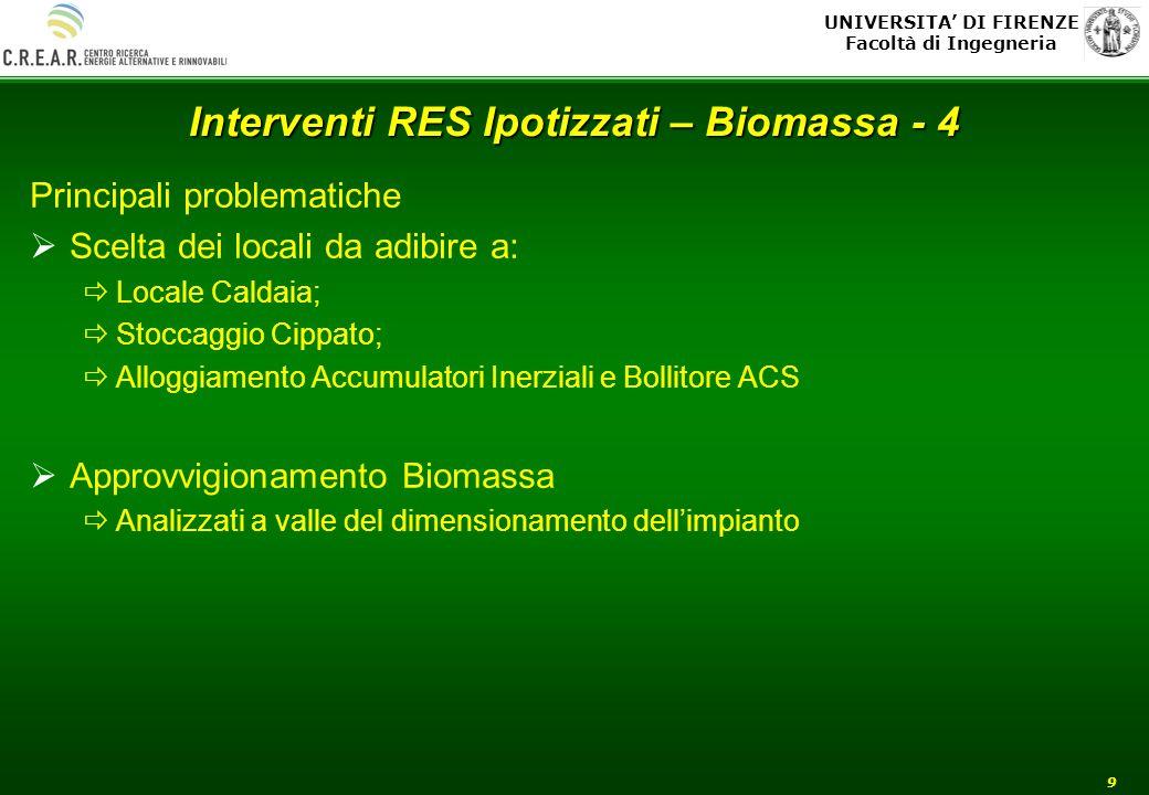 UNIVERSITA DI FIRENZE Facoltà di Ingegneria 9 Interventi RES Ipotizzati – Biomassa - 4 Principali problematiche Scelta dei locali da adibire a: Locale