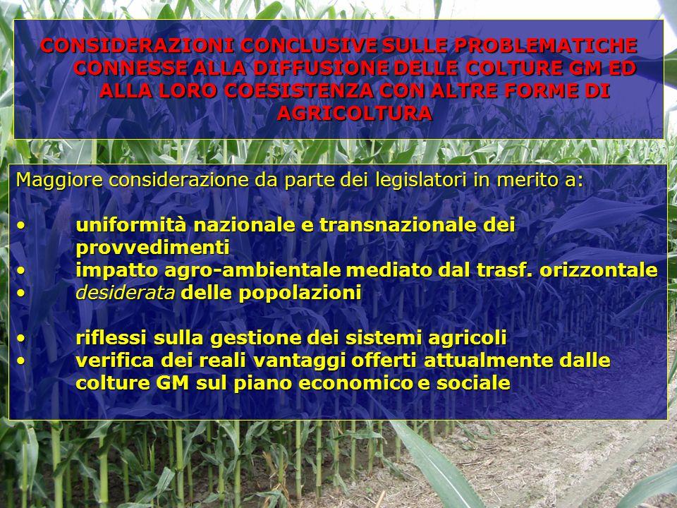 Maggiore considerazione da parte dei legislatori in merito a: uniformità nazionale e transnazionale dei provvedimentiuniformità nazionale e transnazionale dei provvedimenti impatto agro-ambientale mediato dal trasf.