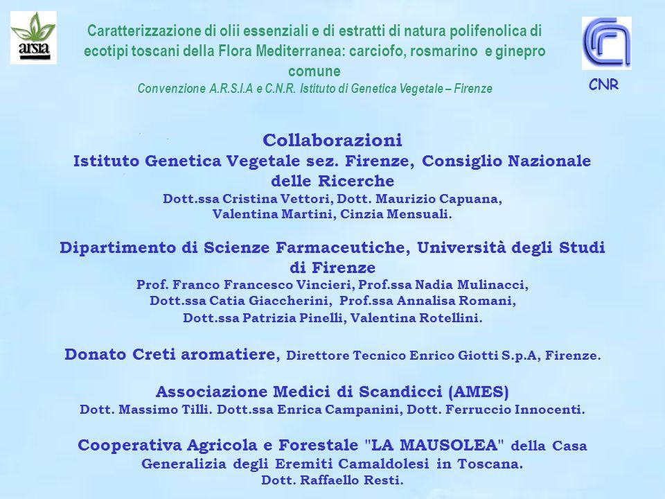Caratterizzazione di olii essenziali e di estratti di natura polifenolica di ecotipi toscani della Flora Mediterranea: carciofo, rosmarino e ginepro c