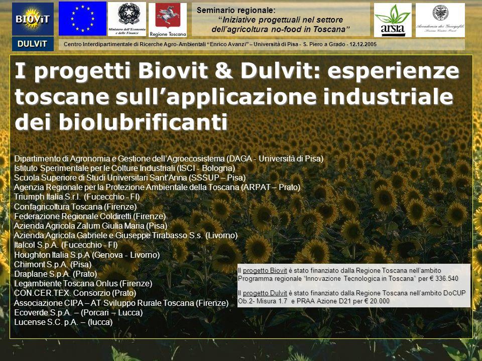 I progetti Biovit & Dulvit: esperienze toscane sullapplicazione industriale dei biolubrificanti I progetti Biovit & Dulvit: esperienze toscane sullapp
