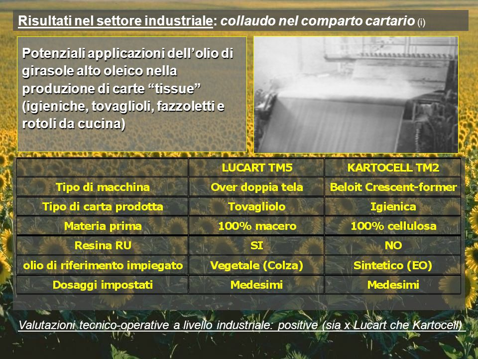 Risultati nel settore industriale: collaudo nel comparto cartario (i) Potenziali applicazioni dellolio di girasole alto oleico nella produzione di car