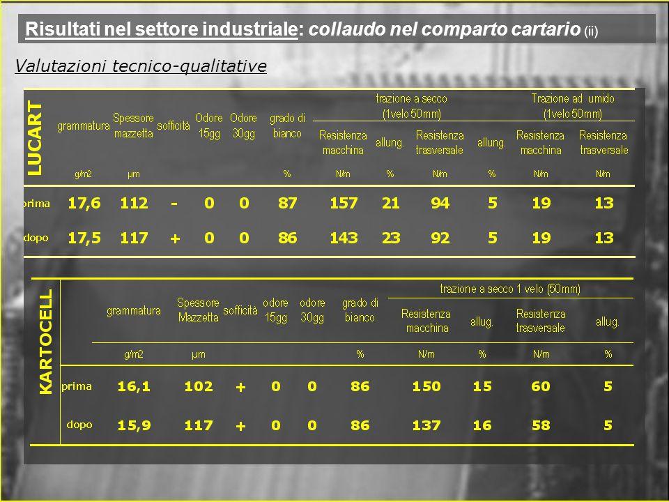 Risultati nel settore industriale: collaudo nel comparto cartario (ii) Valutazioni tecnico-qualitative