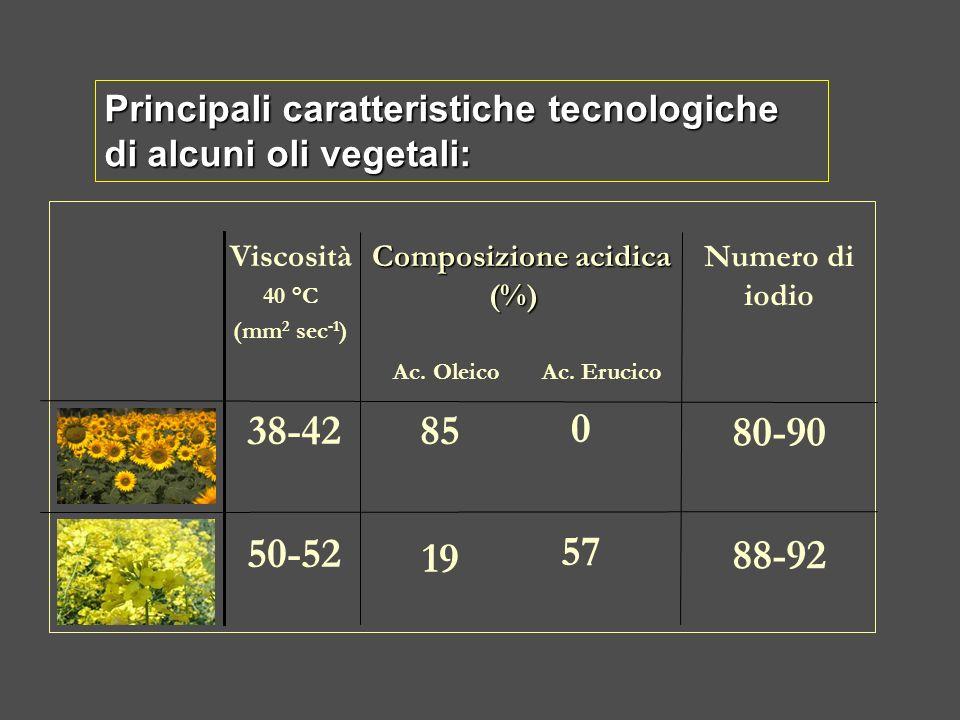 Principali caratteristiche tecnologiche di alcuni oli vegetali: 80-90 88-92 0 57 85 19 38-42 50-52 Numero di iodio Viscosità 40 °C (mm 2 sec -1 ) Comp