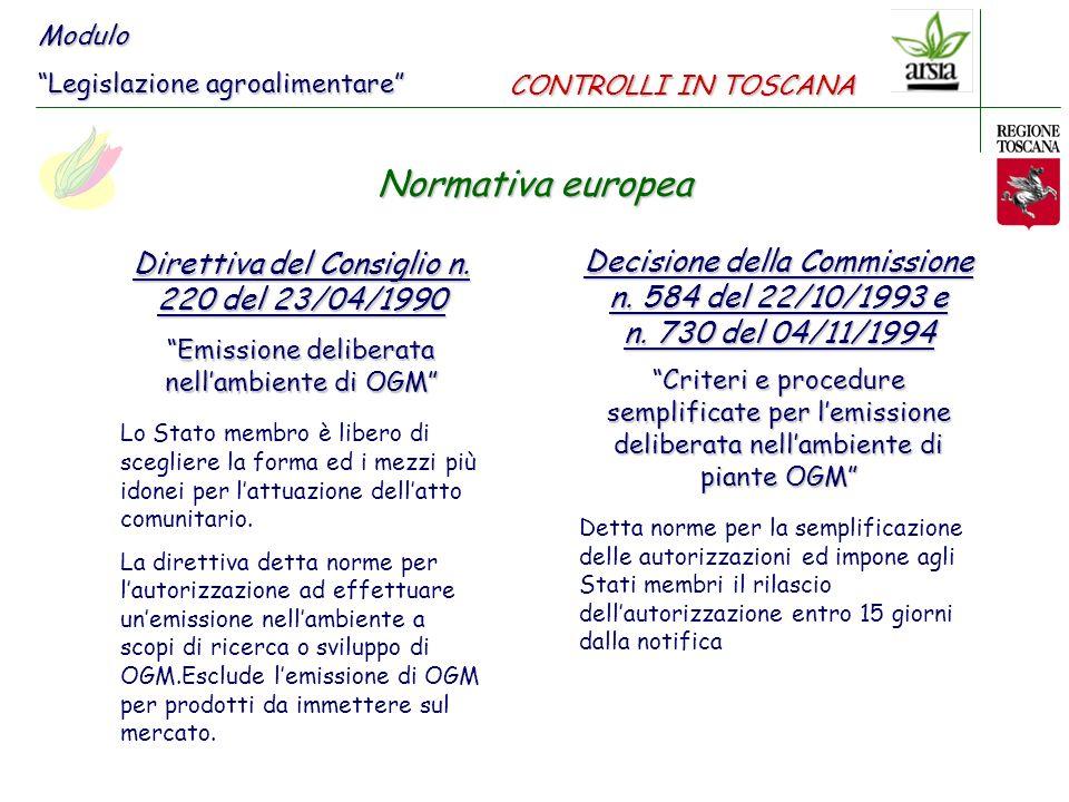 Direttiva n.18 del 12/03/2001 Emissione deliberata nellambiente di OGM che abroga la Direttiva n.