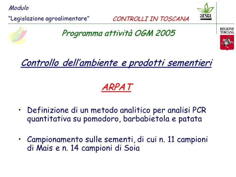 Controllo dellambiente e prodotti sementieri ARPAT Definizione di un metodo analitico per analisi PCR quantitativa su pomodoro, barbabietola e patata