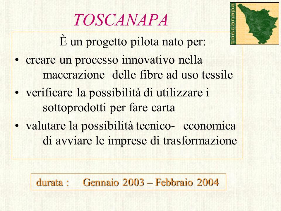 TOSCANAPA È un progetto pilota nato per: creare un processo innovativo nella macerazione delle fibre ad uso tessile verificare la possibilità di utili