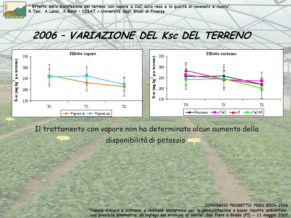 2006 – VARIAZIONE DEL Ksc DEL TERRENO Il trattamento con vapore non ha determinato alcun aumento della disponibilità di potassio Effetto della disinfe