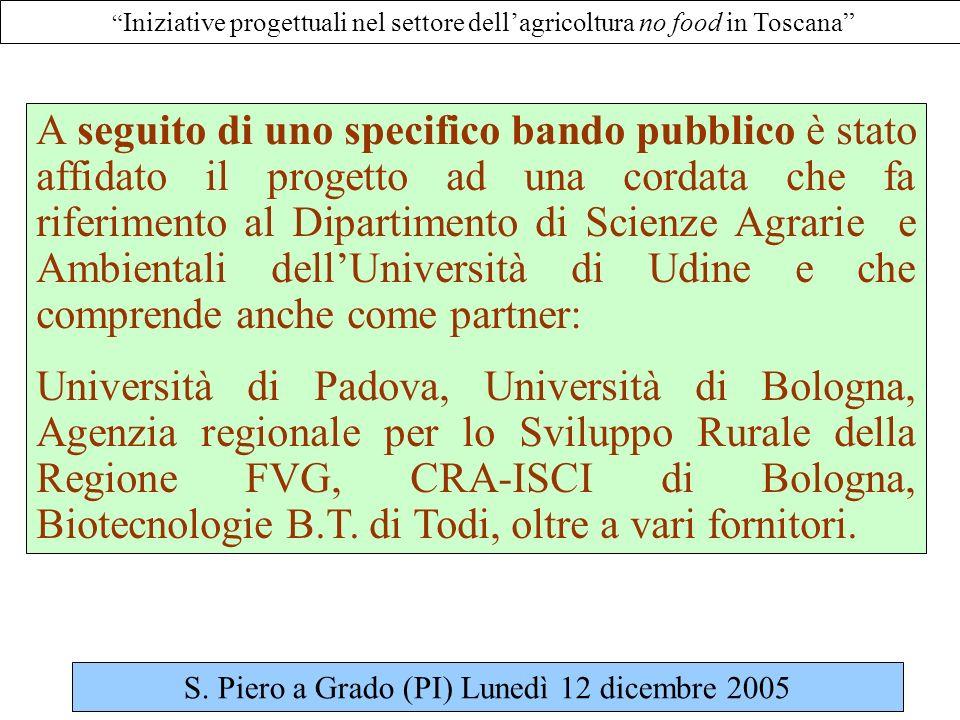 Iniziative progettuali nel settore dellagricoltura no food in Toscana A seguito di uno specifico bando pubblico è stato affidato il progetto ad una cordata che fa riferimento al Dipartimento di Scienze Agrarie e Ambientali dellUniversità di Udine e che comprende anche come partner: Università di Padova, Università di Bologna, Agenzia regionale per lo Sviluppo Rurale della Regione FVG, CRA-ISCI di Bologna, Biotecnologie B.T.