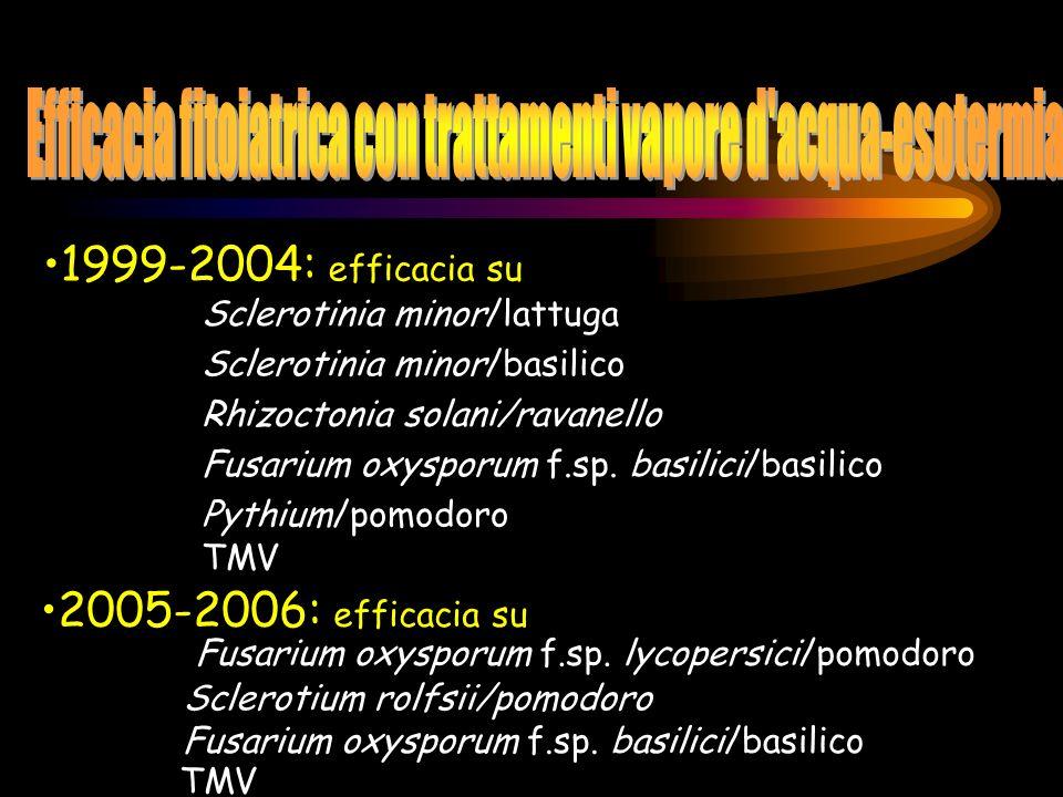 1999-2004: efficacia su Sclerotinia minor/basilico Rhizoctonia solani/ravanello Fusarium oxysporum f.sp. basilici/basilico Pythium/pomodoro TMV Sclero