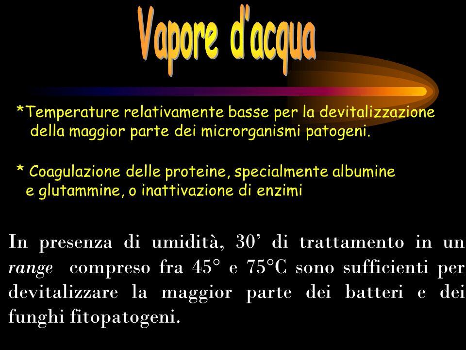 *Temperature relativamente basse per la devitalizzazione della maggior parte dei microrganismi patogeni. * Coagulazione delle proteine, specialmente a