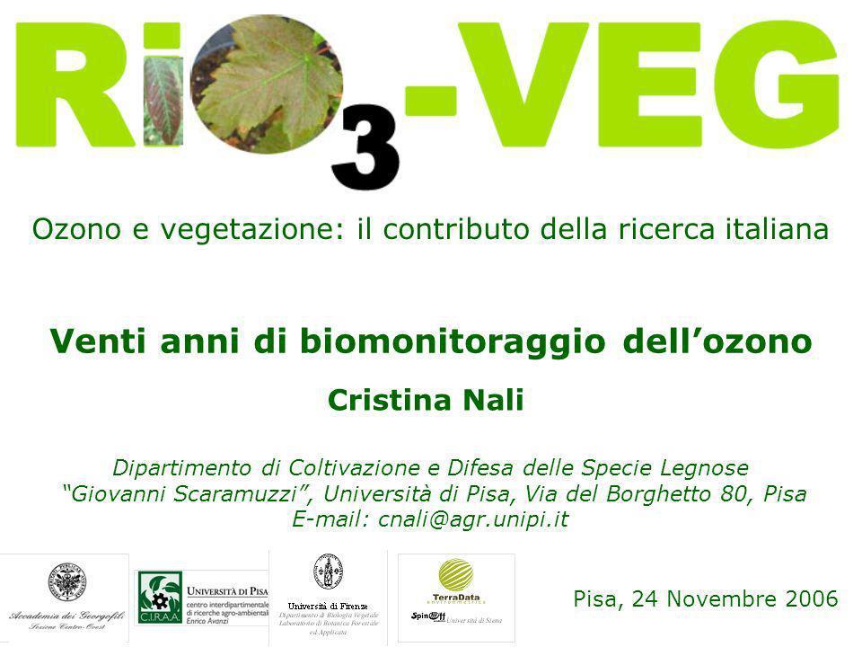 Ozono e vegetazione: il contributo della ricerca italiana Pisa, 24 Novembre 2006 Venti anni di biomonitoraggio dellozono Cristina Nali Dipartimento di