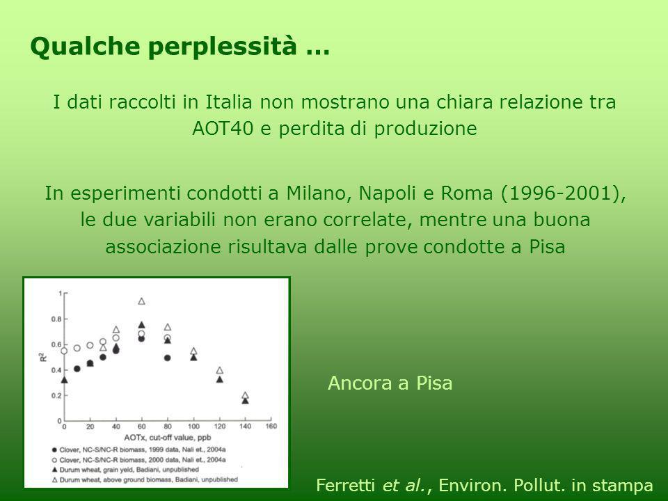 I dati raccolti in Italia non mostrano una chiara relazione tra AOT40 e perdita di produzione Qualche perplessità … In esperimenti condotti a Milano,
