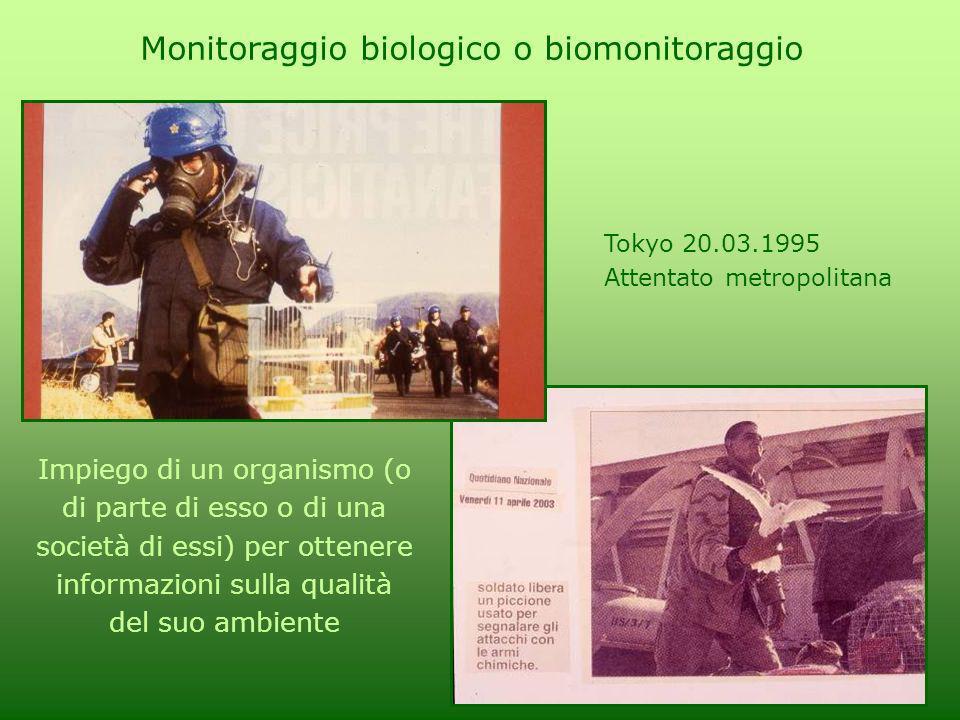 Tokyo 20.03.1995 Attentato metropolitana Monitoraggio biologico o biomonitoraggio Impiego di un organismo (o di parte di esso o di una società di essi