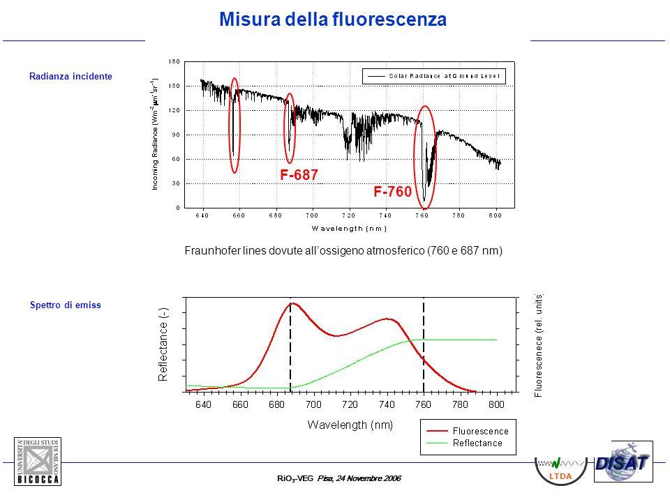 RiO 3 -VEG Pisa, 24 Novembre 2006 LTDA F-687 F-760 Radianza incidente Fraunhofer lines dovute allossigeno atmosferico (760 e 687 nm) Misura della fluo