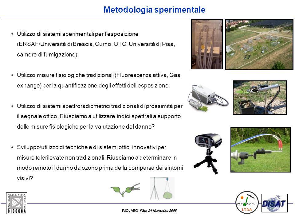 RiO 3 -VEG Pisa, 24 Novembre 2006 LTDA Utilizzo di sistemi sperimentali per lesposizione (ERSAF/Università di Brescia, Curno, OTC; Università di Pisa,