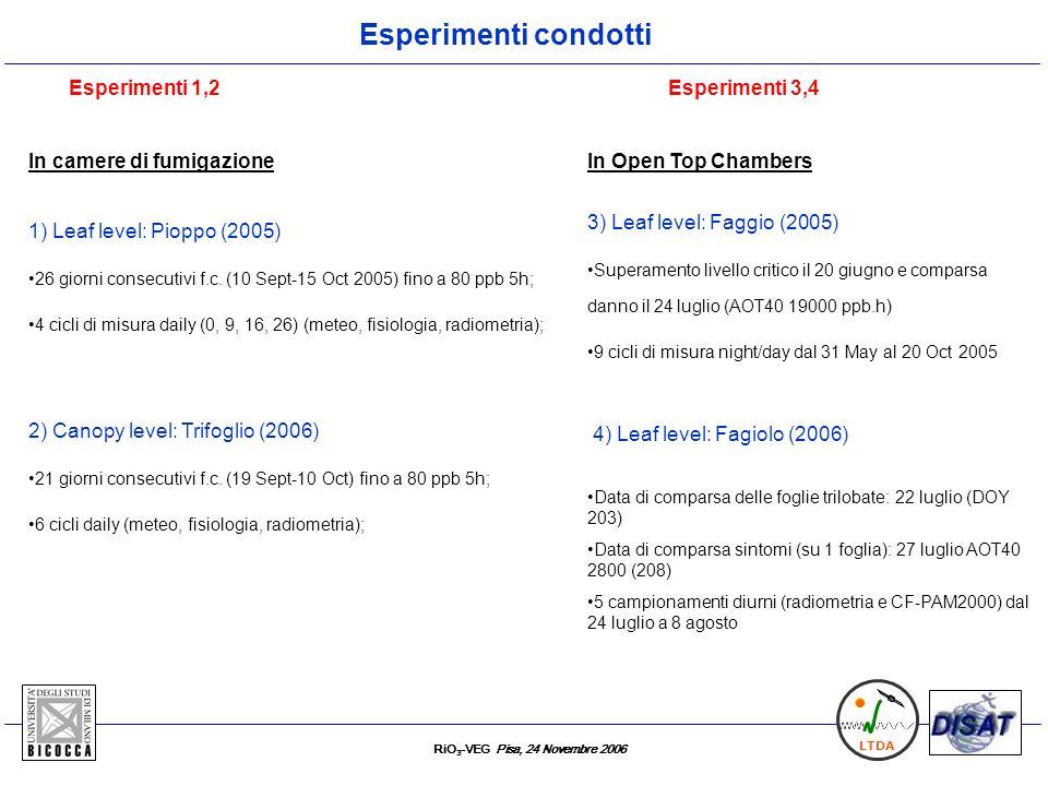 RiO 3 -VEG Pisa, 24 Novembre 2006 LTDA Esperimenti condotti In camere di fumigazione Esperimenti 1,2 1) Leaf level: Pioppo (2005) 26 giorni consecutiv