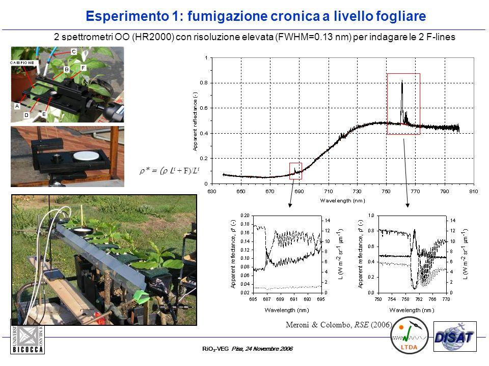 RiO 3 -VEG Pisa, 24 Novembre 2006 LTDA 2 spettrometri OO (HR2000) con risoluzione elevata (FWHM=0.13 nm) per indagare le 2 F-lines Meroni & Colombo, R