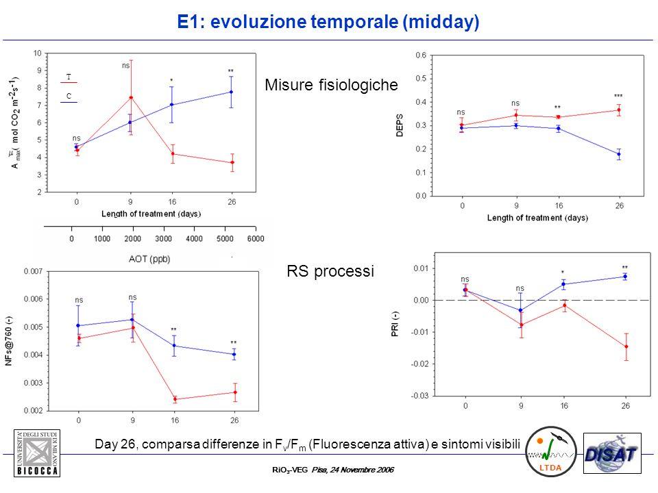 RiO 3 -VEG Pisa, 24 Novembre 2006 LTDA E1: evoluzione temporale (midday) RS processi T C Day 26, comparsa differenze in F v /F m (Fluorescenza attiva)