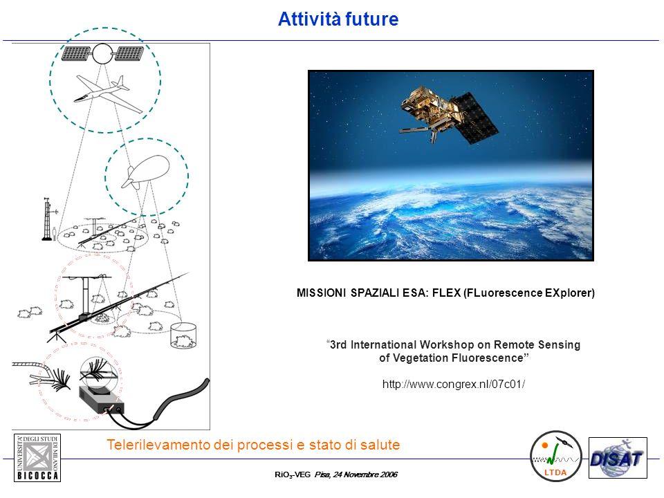 RiO 3 -VEG Pisa, 24 Novembre 2006 LTDA Telerilevamento dei processi e stato di salute MISSIONI SPAZIALI ESA: FLEX (FLuorescence EXplorer) 3rd Internat