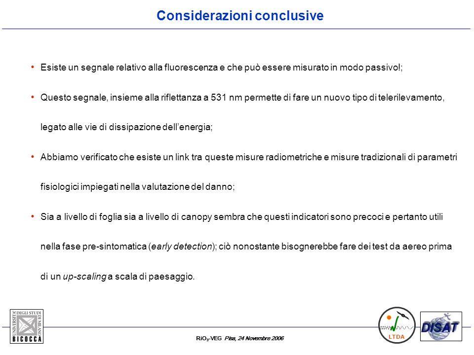 RiO 3 -VEG Pisa, 24 Novembre 2006 LTDA Esiste un segnale relativo alla fluorescenza e che può essere misurato in modo passivo!; Questo segnale, insiem