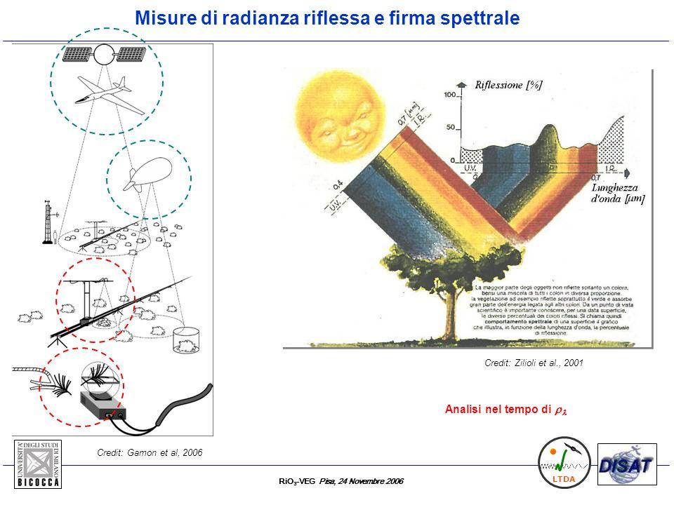 RiO 3 -VEG Pisa, 24 Novembre 2006 LTDA F-687 F-760 Radianza incidente Fraunhofer lines dovute allossigeno atmosferico (760 e 687 nm) Misura della fluorescenza Spettro di emissione in fluorescenza