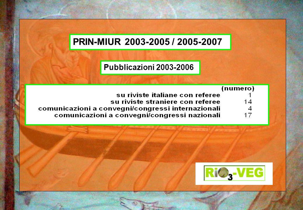 Pubblicazioni 2003-2006 PRIN-MIUR 2003-2005 / 2005-2007