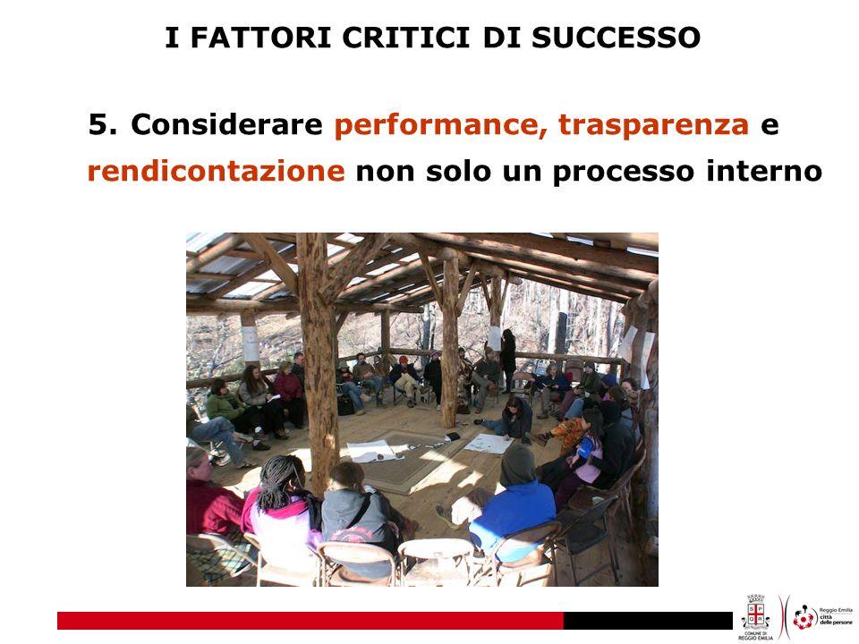 I FATTORI CRITICI DI SUCCESSO 5.Considerare performance, trasparenza e rendicontazione non solo un processo interno