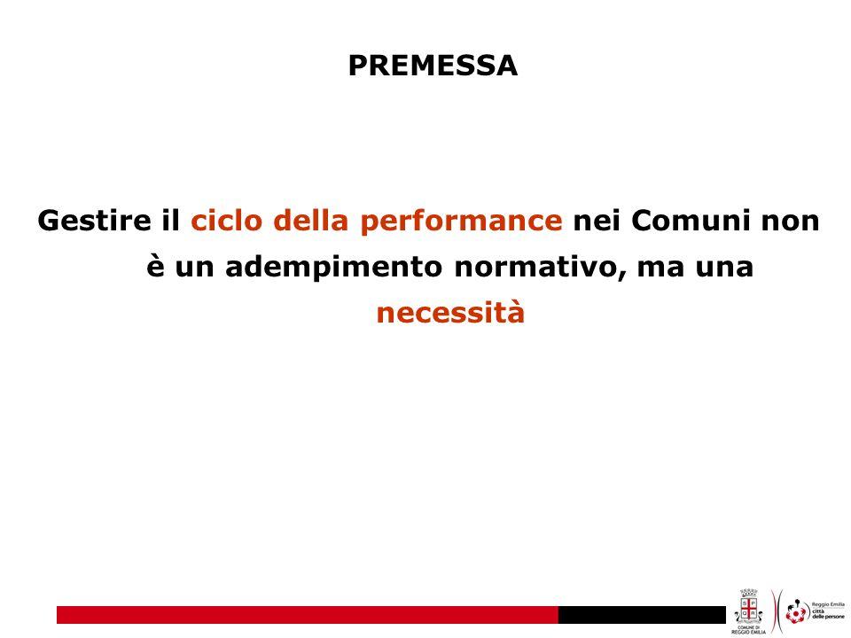 Gestire il ciclo della performance nei Comuni non è un adempimento normativo, ma una necessità PREMESSA