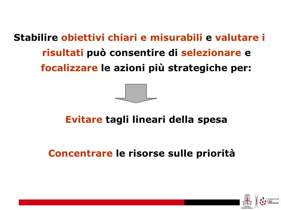 Stabilire obiettivi chiari e misurabili e valutare i risultati può consentire di selezionare e focalizzare le azioni più strategiche per: Evitare tagl