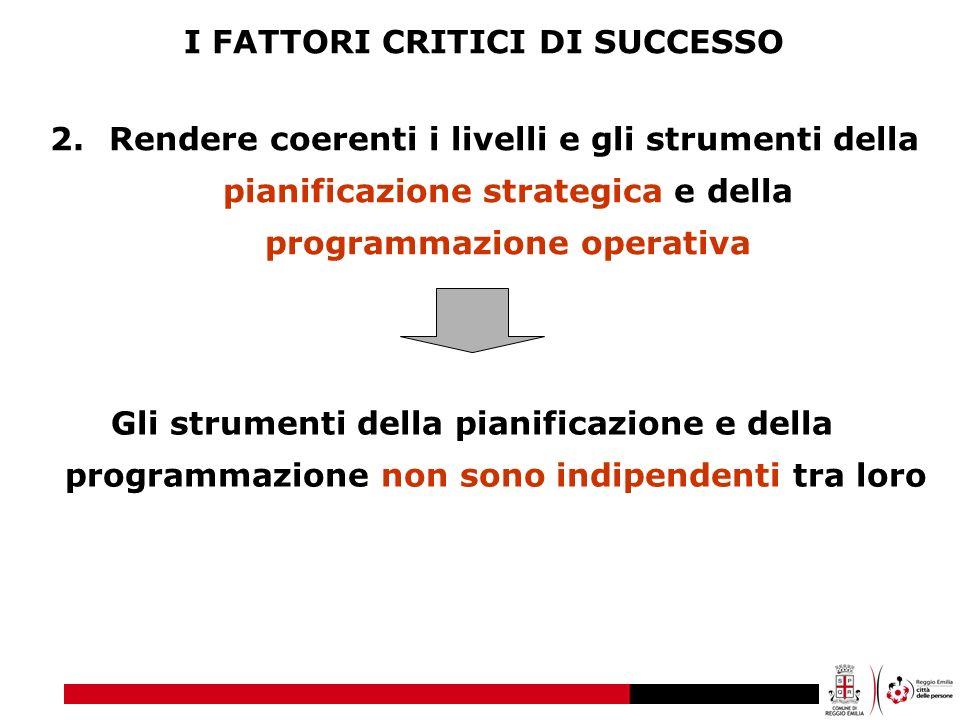 I FATTORI CRITICI DI SUCCESSO 2. Rendere coerenti i livelli e gli strumenti della pianificazione strategica e della programmazione operativa Gli strum