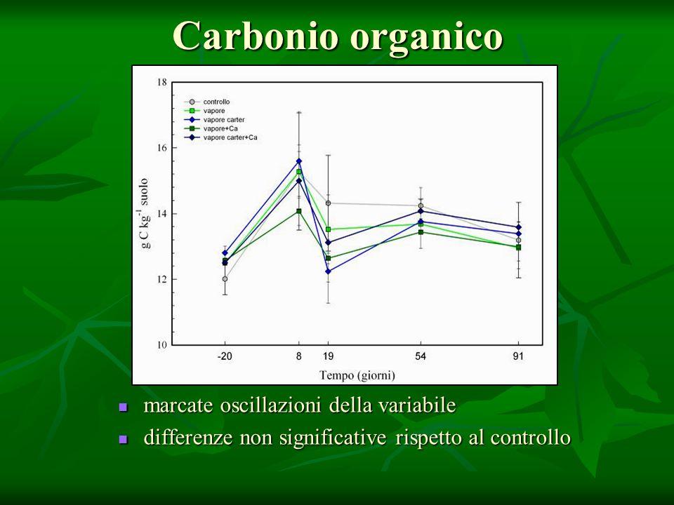 Carbonio organico marcate oscillazioni della variabile marcate oscillazioni della variabile differenze non significative rispetto al controllo differe