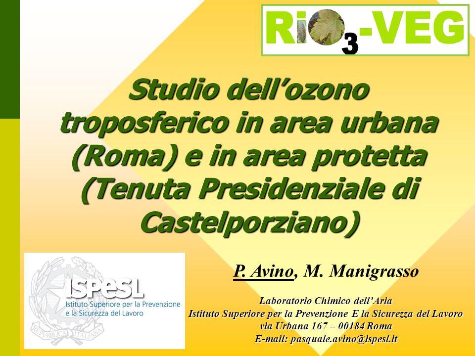 Studio dellozono troposferico in area urbana (Roma) e in area protetta (Tenuta Presidenziale di Castelporziano) P.