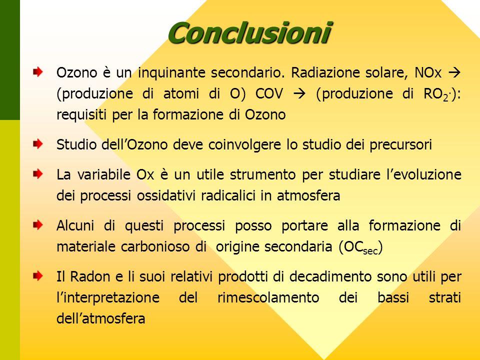 Conclusioni Ozono è un inquinante secondario.