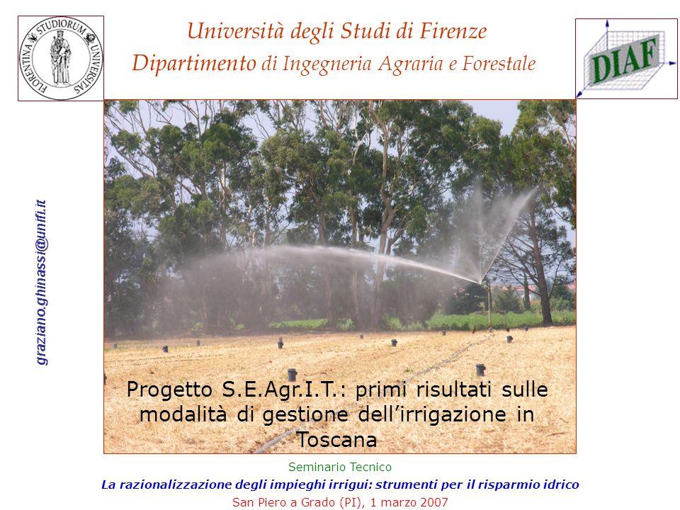 Bando ARSIA Razionalizzazione degli impieghi irrigui per la gestione sostenibile delle risorse idriche regionali