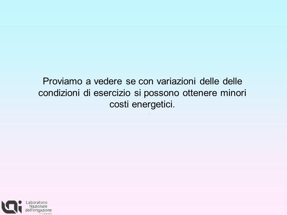 Proviamo a vedere se con variazioni delle delle condizioni di esercizio si possono ottenere minori costi energetici.
