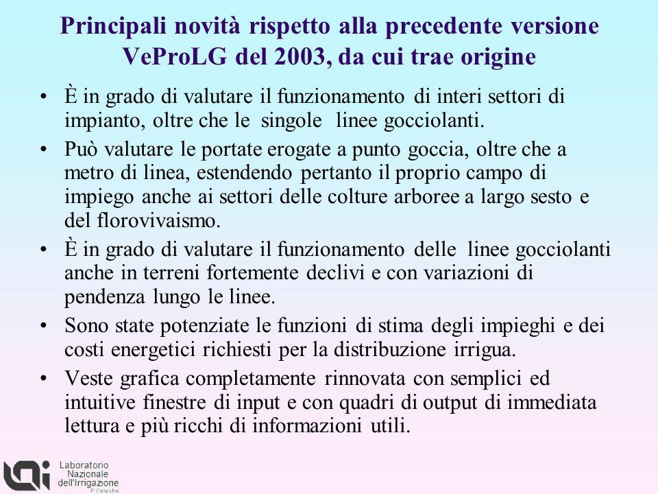 Principali novità rispetto alla precedente versione VeProLG del 2003, da cui trae origine È in grado di valutare il funzionamento di interi settori di