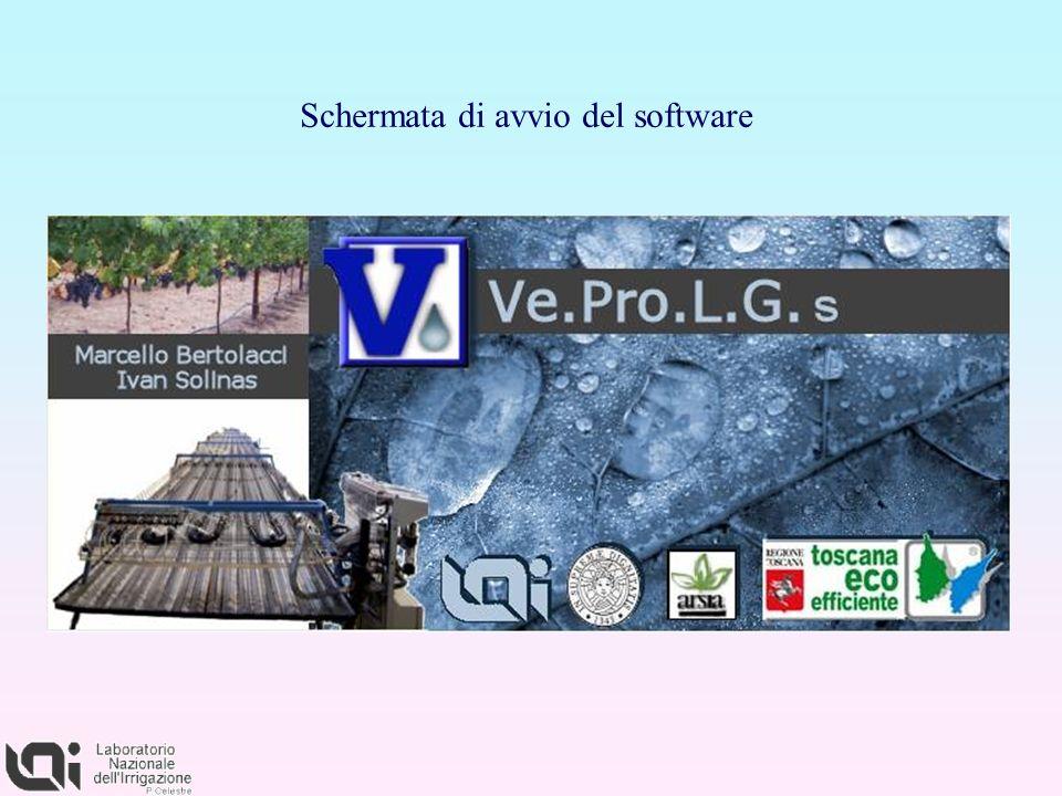 Schermata di avvio del software