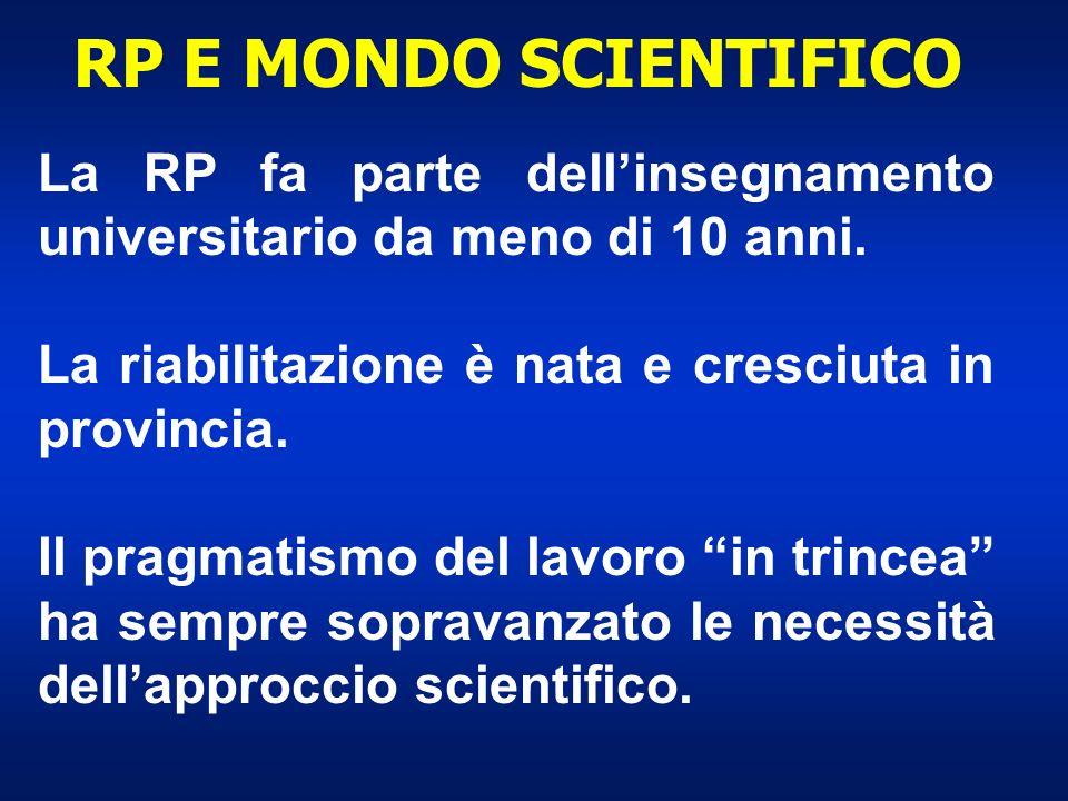 RP E MONDO SCIENTIFICO La RP fa parte dellinsegnamento universitario da meno di 10 anni. La riabilitazione è nata e cresciuta in provincia. Il pragmat